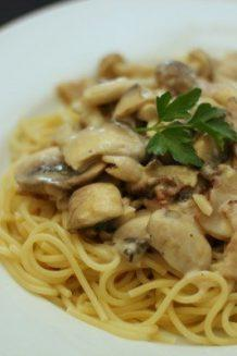 Creamy Mushroom & Bacon Spaghetti | Easy Japanese Recipes at JustOneCookbook.com