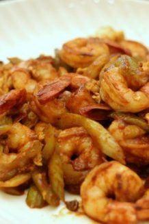 Shrimp & Celery with Ketchup Tobanjiang Sauce | Easy Japanese Recipes at JustOneCookbook.com