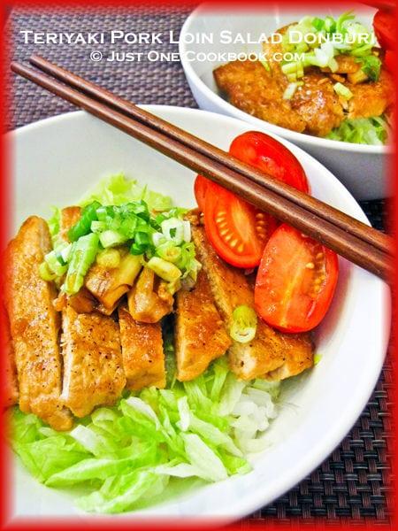 Teriyaki Pork Loin Salad Donburi | Easy Japanese Recipes at JustOneCookbook.com