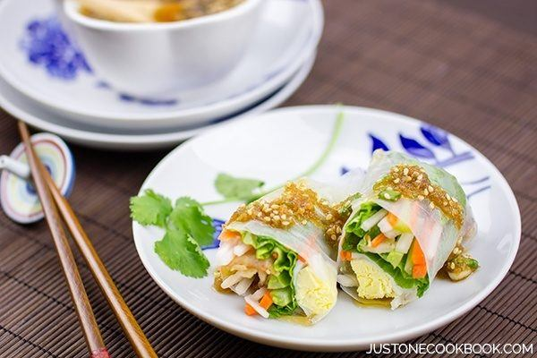 Spring Rolls with Sesame Ponzu Vinaigrette | Easy Japanese Recipes at JustOneCookbook.com