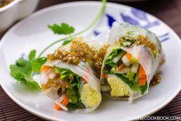 Spring Rolls with Sesame Ponzu Vinaigrette | Easy Japanese Recipes at JustOneCookbook.com