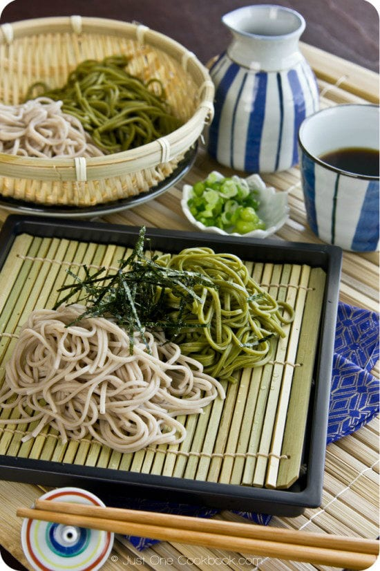 Cold soba noodles are typically served in zaru , which means bamboo ...