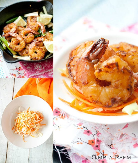 Honey Glazed Shrimps with Asian Coleslaw - Guest Post By Simply Reem II