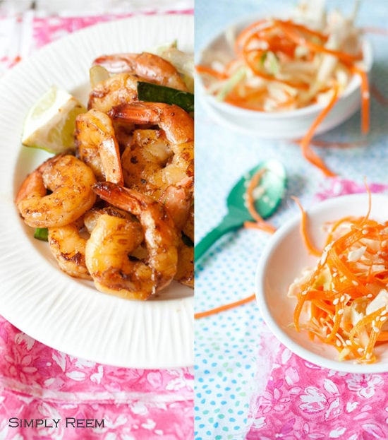 Honey Glazed Shrimps with Asian Coleslaw - Guest Post By Simply Reem III
