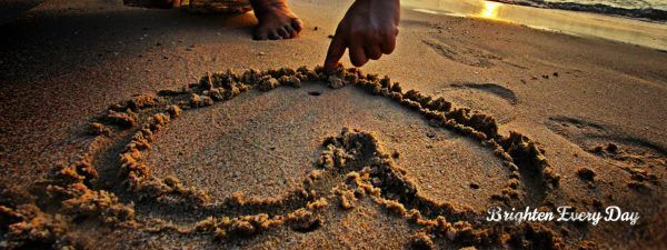 Folgers heart in sand