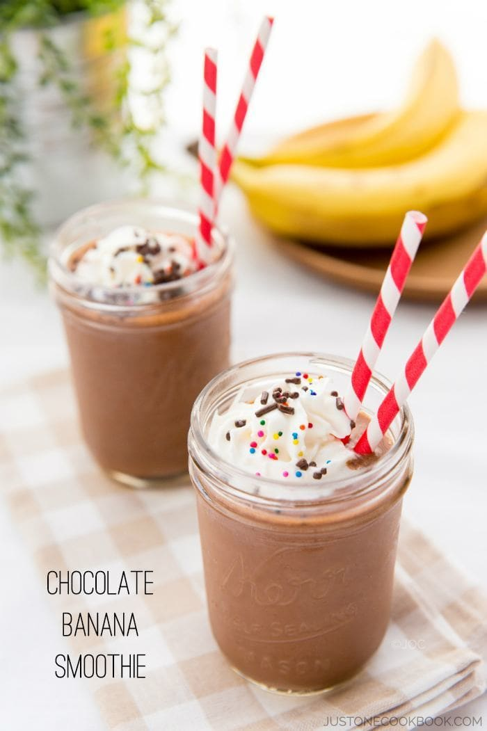 Chocolate Banana Smoothie #recipe #healthy #smoothie | Easy Japanese Recipes at JustOneCookbook.com