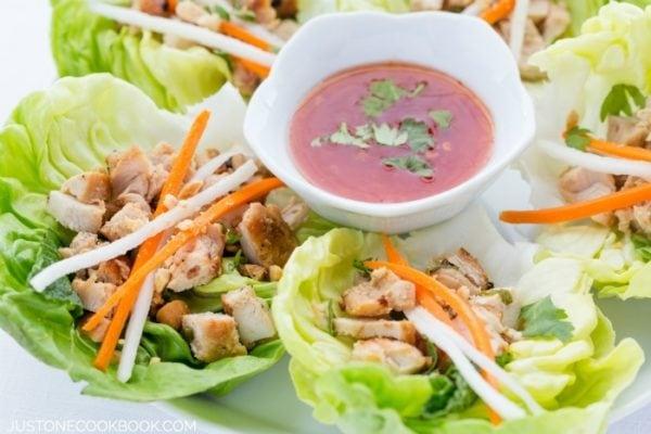 Thai Chicken Lettuce Wraps | JustOneCookbook.com
