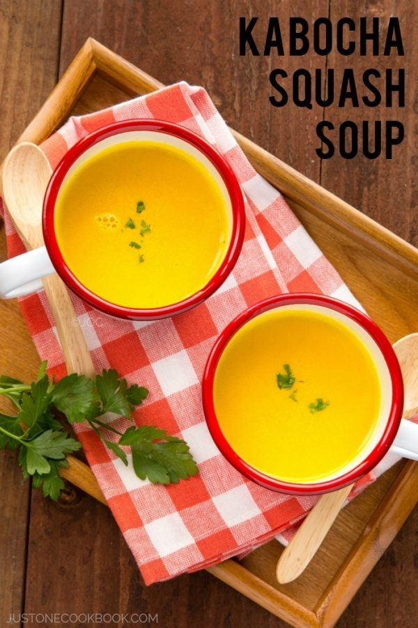 Kabocha Squash Soup - Delicious fall season soup with just a few simple ingredients (and ready in 30 mins!). Enjoy this rich and creamy soup dipping with your favorite bread. | Easy Japanese Recipes at JustOneCookbook.com