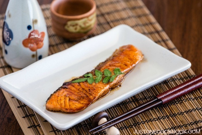Quick and easy homemade teriyaki salmon cooked in soy sauce, sake, and ...