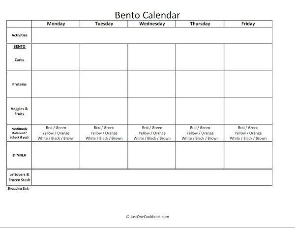 Weekly Bento Calendar | Easy Japanese Recipes at JustOneCookbook.com
