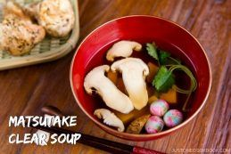 Matsutake Clear Suimono is a classic Japanese autumn soup with fresh matsutake mushrooms, tofu, and mitsuba herb in clear dashi broth. | Easy Japanese Recipes at JustOneCookbook.com