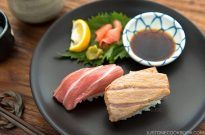 "Supreme Fatty Tuna Belly ""Otoro"" Sushi Recipe - Easy to make sushi at home using already-made sushi pillows. Easy Japanese Recipes at JustOneCookbook.com"