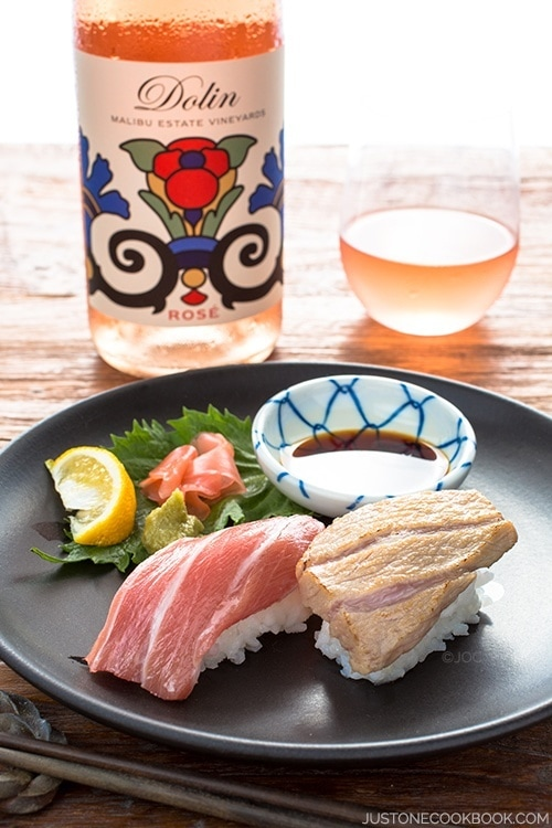 Otoro Sushi - Enjoy this prized part of the tuna two ways, seared and drizzled with yuzu juice or just with a bit soy sauce. Either way it melts in your mouth! @justonecookbook