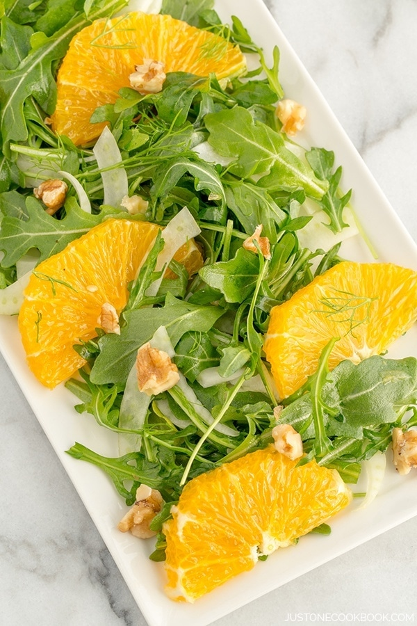 Refreshing arugula salad with flavorful fennel and sweet navel orange ...