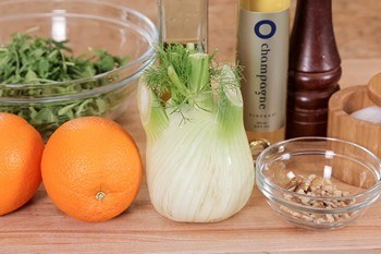 Arugula, Fennel, and Navel Orange Salad Ingredients