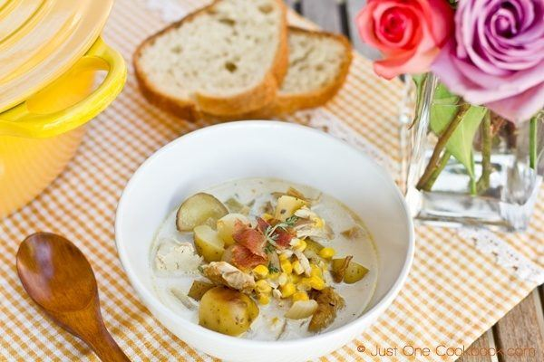 Chicken & Corn Chowder with Roasted Potato | JustOneCookbook.com