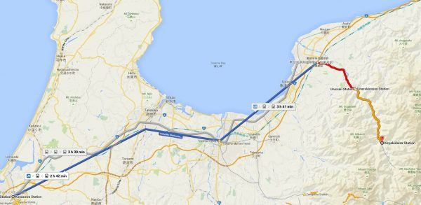 Kanazawa to Kurobe Gorge Google Maps