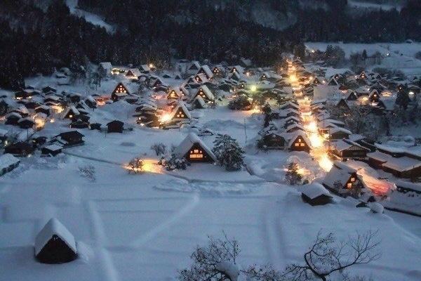 Shirakawa-go Night Snow View