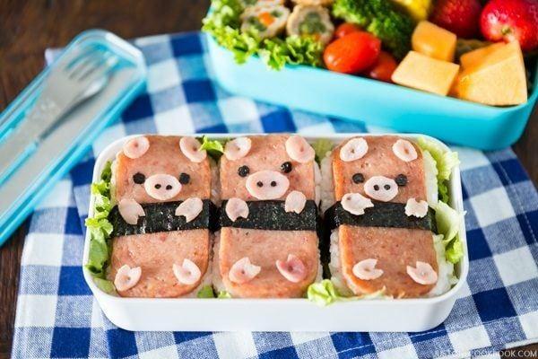 Piggy SPAM<sup>®</sup> Musubi Bento | Easy Japanese Recipes at JustOneCookbook.com
