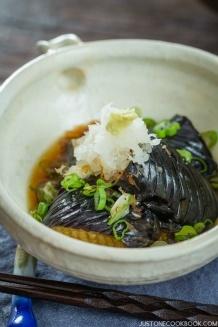 Deep Fried Eggplant in Light Broth (Eggplant Agebitashi)   Easy Japanese Recipes at JustOneCookbook.com