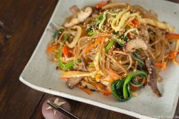 Japchae (Korean Glass Noodles with Stir-Fried Vegetables and Meat | JustOneCookbook.com