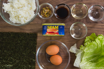Spam Onigirazu Ingredients