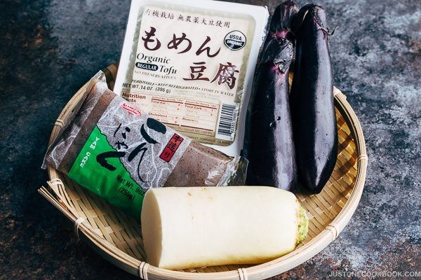 Miso Dengaku with Tofu, Eggplants, Daikon & Konnyaku (豆腐・ナス・大根・こんにゃくの味噌田楽) | Easy Japanese Recipes at JustOneCookbook.com
