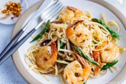 Easy Wafu Pasta with Shrimp and Asparagus (Gluten Free) 海老とアスパラガスの簡単和風パスタ (グルテンフリー)   Easy Japanese Recipes at JustOneCookbook.com
