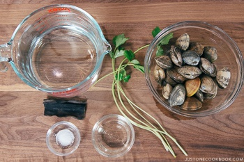 Japanese Clam Soup with Clear Broth Ingredients