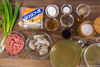 Shrimp and Pork Wonton Soup Ingredients