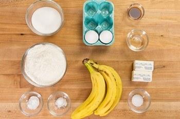 Banana Bread Ingredients on cutting board