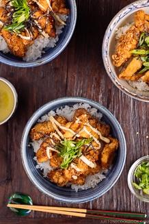 Chinese-style Chicken Karaage Donburi 中華風唐揚げ丼ぶり | Easy Japanese Recipes at JustOneCookbook.com