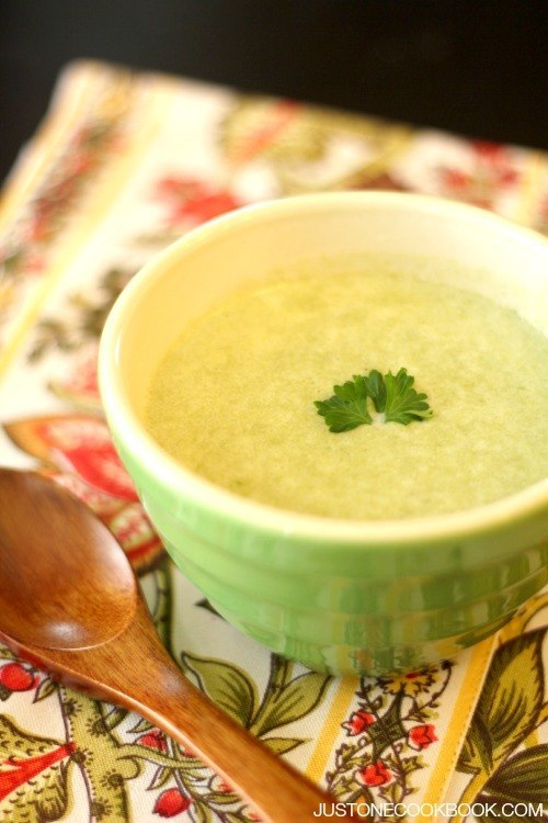 Potato and Leek Soup in a cup.