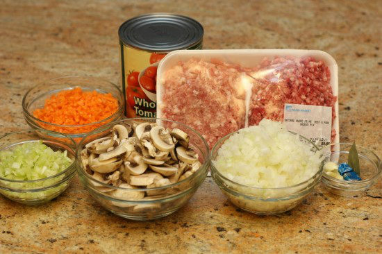 ingredients for Spaghetti Meat Sauce on granite counter top