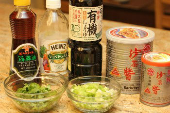 ingredients for homemade meatball on the countertop
