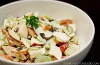 Apple Salad in a white bowl.