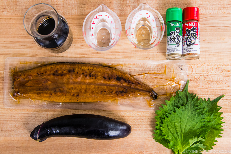 Eggplant Unagi Donburi Ingredients
