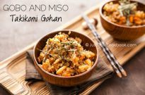 Gobo and Miso Takikomi Gohan 牛蒡と味噌の炊き込みご飯