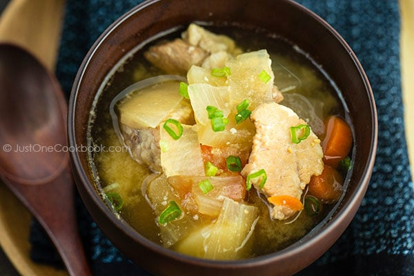 Tonjiru, Pork and Vegetable Miso Soup in a bowl.