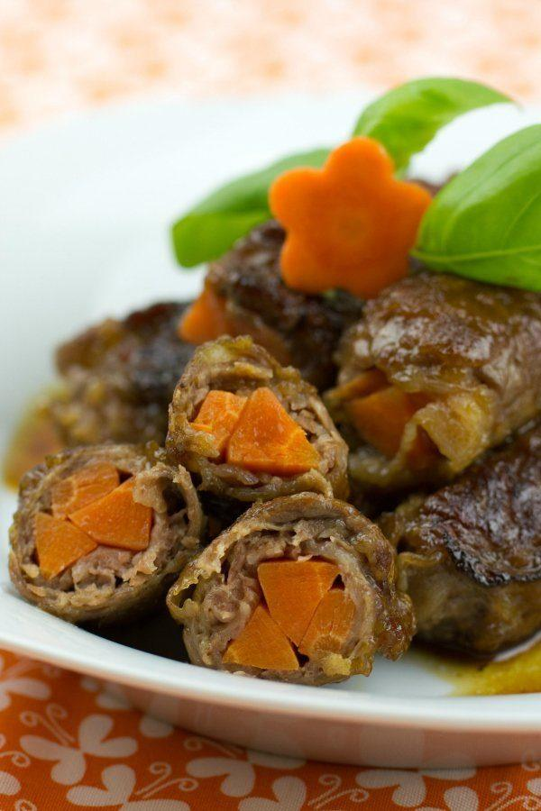 Baby Carrot Beef Rolls on a plate.