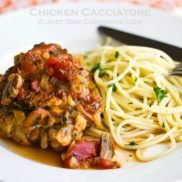 Chicken Cacciatore with pasta on a plate.