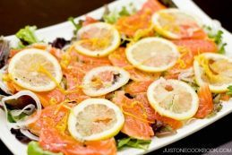 Smoked Salmon Salad with Lemon Vinaigrette on a plate.