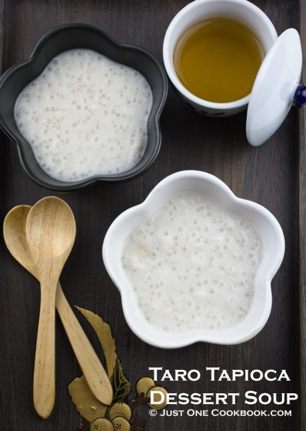 Taro Tapioca Dessert Soup in bowls.
