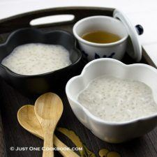 taro tapioca in black and white bowl on top of wood tray