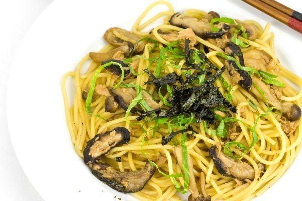 Japanese Style Mushroom and Tuna Pasta on a plate.