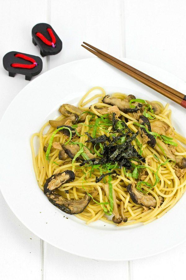 Japanese Style Mushroom and Tuna Pasta on a white plate.