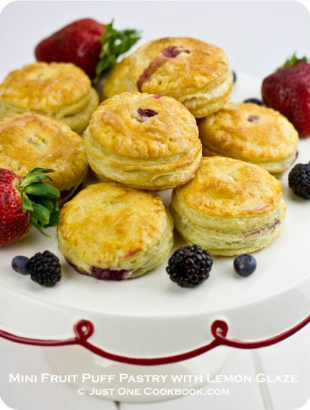 Mini Fruit Puff Pastry With Lemon Glaze O Just One Cookbook