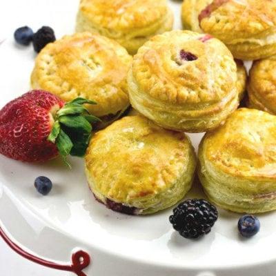 Mini Fruit Puff Pastry with Lemon Glaze