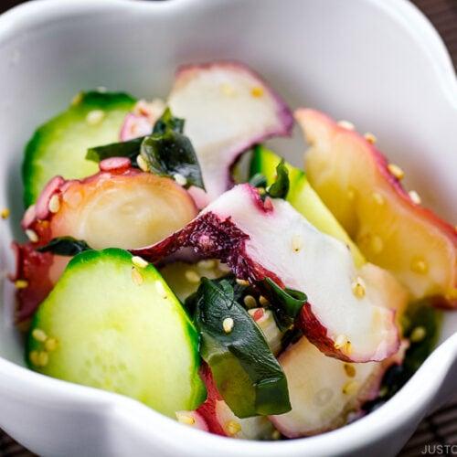 Octopus salad served in appetizer bowl