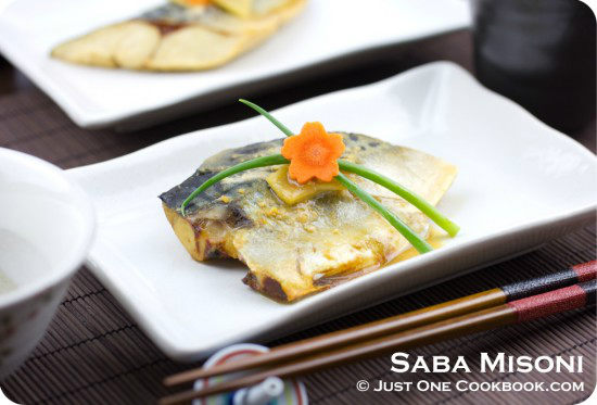 Simmered Mackerel in Miso on plates.